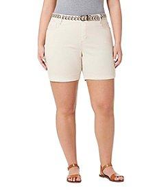 Bandolino® Plus Size Amalia Belt Twill Shorts