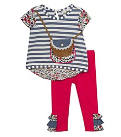 Rare Editions® Baby Girls' Striped Purse Top And Pants Set