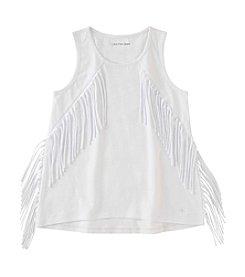 Calvin Klein Girls' 7-16 Sleeveless Solid Fringe Tank Top