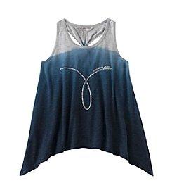 Calvin Klein Girls' 7-16 Sleeveless Dip Dye Hanky Hem Tank Top