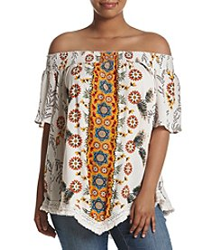 Skylar & Jade™ Plus Size Off The Shoulder Printed Top