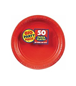 BuySeasons Apple Red Big Party 50-Pk. Dessert Plates