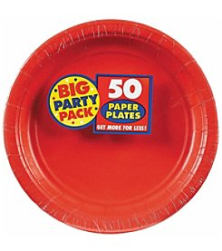 BuySeasons Apple Red Big Party 50-Pk. Dinner Plates