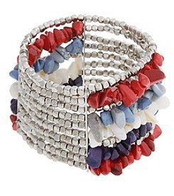 Erica Lyons® American Pie Silvertone Multi Row Stretch Bracelet