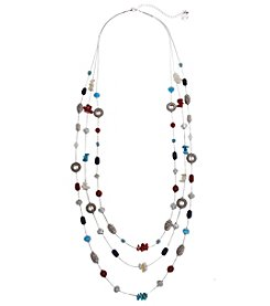 Erica Lyons® American Pie Silvertone Triple Row Long Necklace