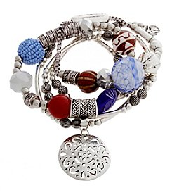 Erica Lyons® American Pie Silvertone Five Piece Stretch Bracelet Set