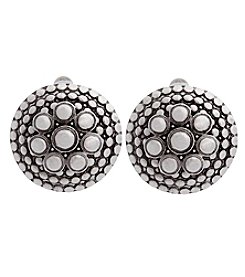 Erica Lyons® American Pie Silvertone Button Clip Earrings