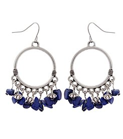 Erica Lyons® American Pie Silvertone Hoop Drop Earrings