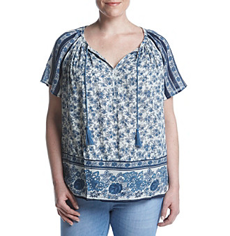 6ddafd8c395 UPC 190365886798 product image for Lucky Brand Plus Size Floral Stripe  Pattern Peasant Top