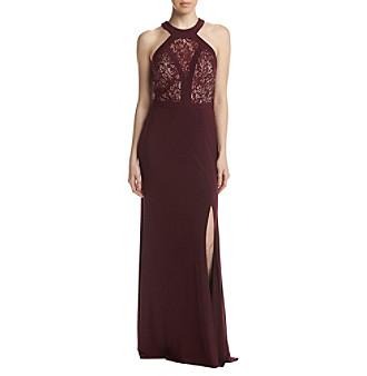 Upc 714455217127 Nightway Lace Halter Neckline Maxi Dress