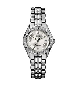 GUESS Women's Silvertone Crystal Bezel Gray Dial Bracelet Watch