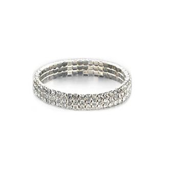 BT-Jeweled Triple Row Crystal Stretch Bracelet - Clear