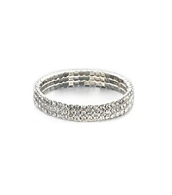 BT-Jeweled Triple Row Crystal Stretch Bracelet - Clear