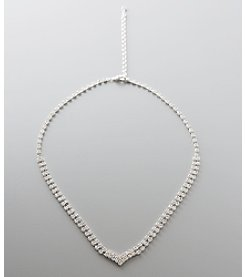 BT-Jeweled Crystal Double V Necklace - Clear