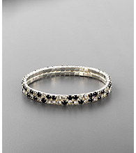 Double Row Crystal Stretch Bracelet - Jet