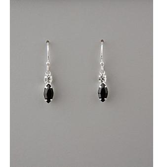 BT-Jeweled Crystal Small Drop Earrings - Jet