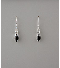 BT-Jeweled Crystal Small Drop Earrings - Jet