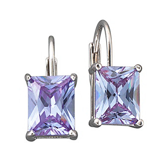 BT-Jeweled Rectangular Cubic Zirconia Leverback Earrings- Light Purple/Silvertone