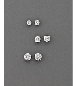 BT-Jeweled Round Cubic Zirconia Earring Trio - Clear/Silvertone