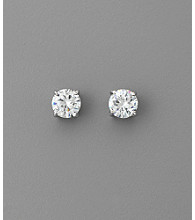 BT-Jeweled Round Cubic Zirconia 8mm Earrings - Clear/Silvertone