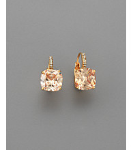 BT-Jeweled Square Cubic Zirconia 10mm Leverback Earrings - Champagne/Gold