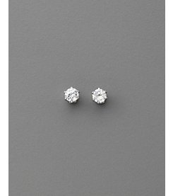 BT-Jeweled Round Cubic Zirconia 4mm Earrings - Clear/Silvertone