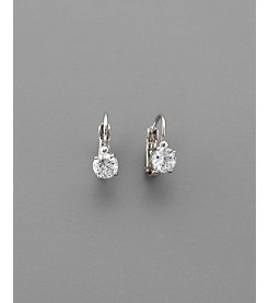 BT-Jeweled Round Cubic Zirconia 6mm Leverback Earrings - Clear/Silvertone