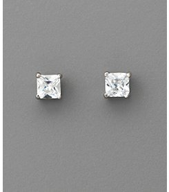 BT-Jeweled Square Cubic Zirconia 5mm Earrings - Clear/Silvertone