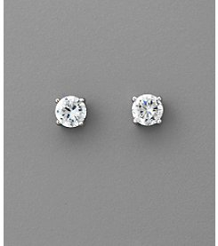 BT-Jeweled Round Cubic Zirconia 6mm Earrings - Clear/Silvertone