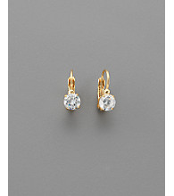 Round Cubic Zirconia 6mm Leverback Earrings - Clear/Goldtone
