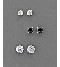 BT-Jeweled Round Cubic Zirconia Earring Trio - Clear/Black