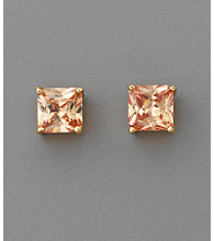 BT-Jeweled Square Cubic Zirconia 7mm Earrings - Champagne/Goldtone