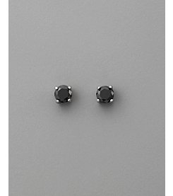 BT-Jeweled Round Cubic Zirconia 6mm Earrings - Black/Silver