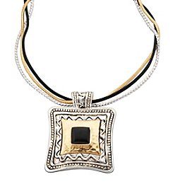 Laura Ashley® Large Square Triple Cord Necklace - Silvertone/Goldtone