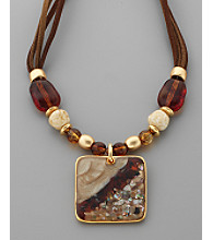 Laura Ashley® Framed Square Pendant Necklace - Tonal Brown