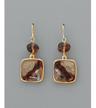 Laura Ashley® Framed Square Drop Earrings - Tonal Brown