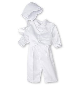 The Children's Hour Baby Boys' Tuxedo with Bonnet - White