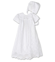The Children's Hour Baby Girls' Lace Overlay Gown with Bonnet - White