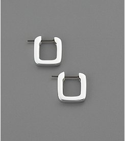 Lauren Ralph Lauren Sterling Silvertone Square Edge Hoop Earrings
