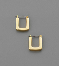 Lauren Ralph Lauren Square Edge Hoop Earrings - Goldtone