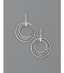 Lauren Ralph Lauren Small Round Bevel Gypsy Hoop Earrings - Silvertone