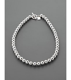 Lauren Ralph Lauren 8mm Beaded Necklace - Silvertone
