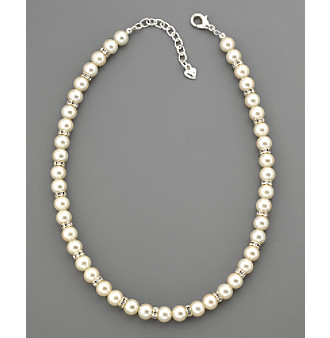 Carolee® Pearl & Pave Crystal Rondell Necklace - Silvertone