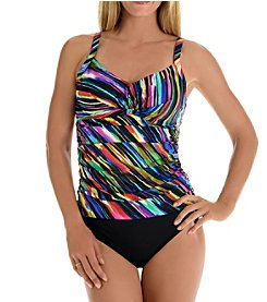 Trimshaper Loco Motion Tankini Top and Side Tie Brief Bottoms