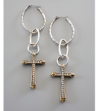 Lucky Brand® Hammered Hoop Cross Earrings