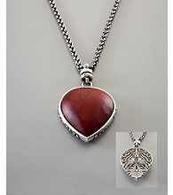 Lucky Brand® Women's Red Teardrop Pendant - Silvertone