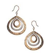 Kenneth Cole® Two Tone Teardrop Orbit Hoop Earrings