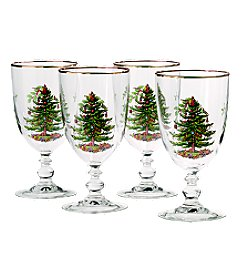 Spode® Christmas Tree Set of 4 Pedestal Goblets