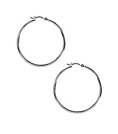 Nine West® Medium Silvertone Rounded Click It Hoop Earrings
