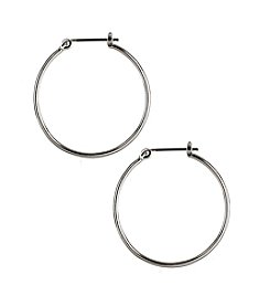Nine West® Large Polished Silvertone Click It Hoop Earrings